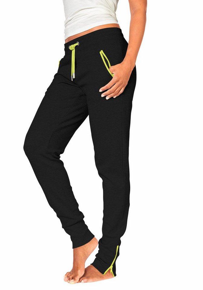 H.I.S Relaxhose mit neonfarbenem Zippern in schwarz mit neongelb