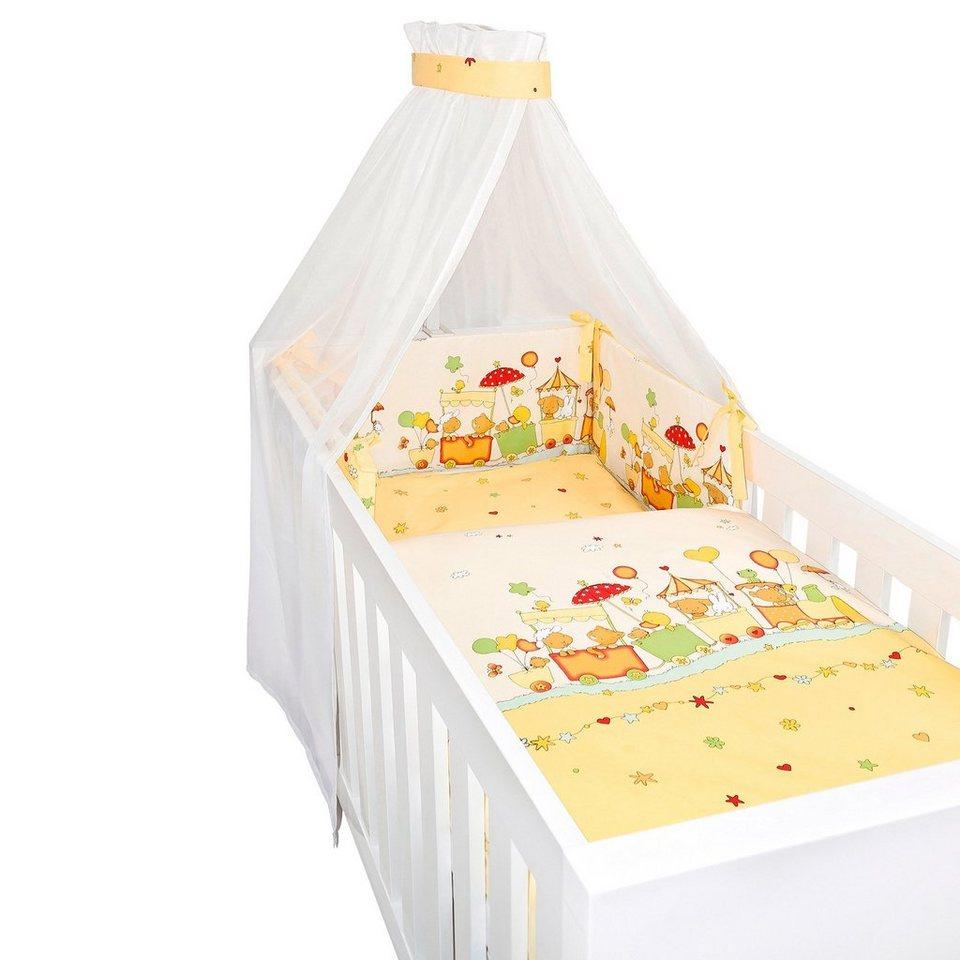 BORNINO HOME 4-tlg. Babybettausstattung Lustige Zugfahrt in gelb