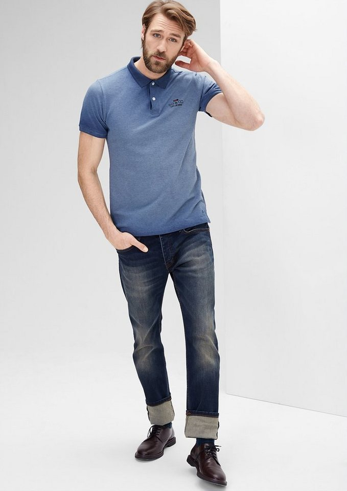 s.Oliver RED LABEL Schmales Dip Dye-Poloshirt in medieval blue