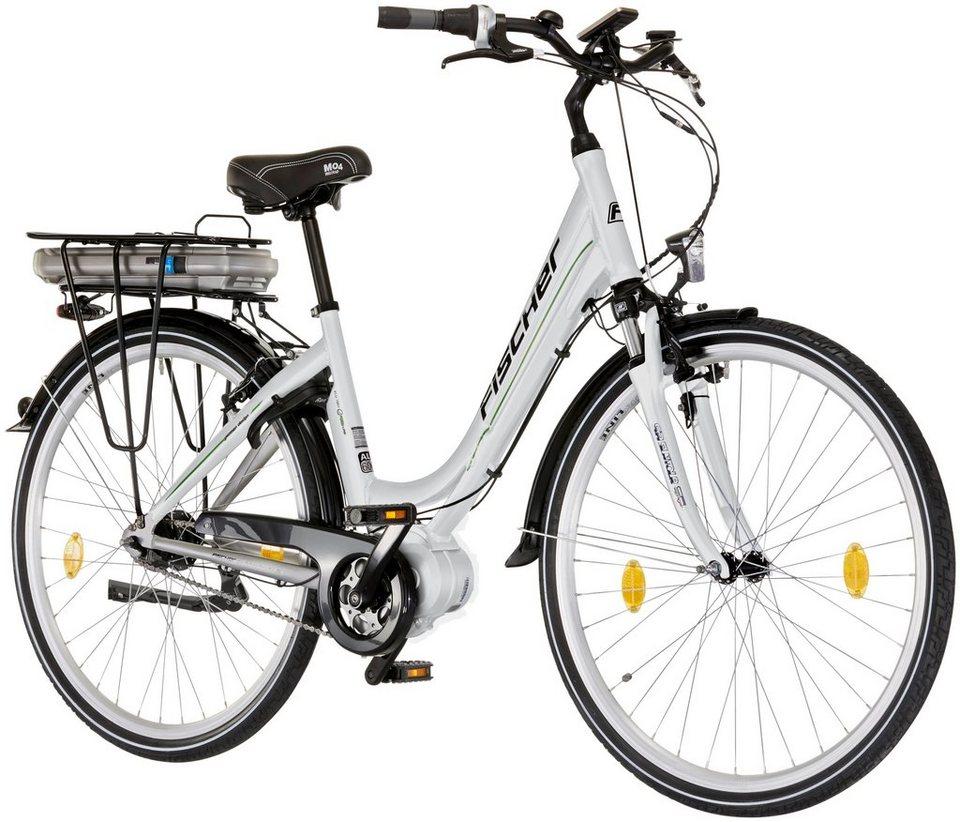 E-Bike City Damen »Ecoline«, 28 Zoll, 7 Gang, Mittelmotor, 317 Wh in silberfarben