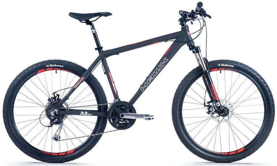 Hawk Mountainbike, 26 Zoll, 24 Gang Shimano Alivio Schaltung, »Thirtythree 26« in schwarz-rot