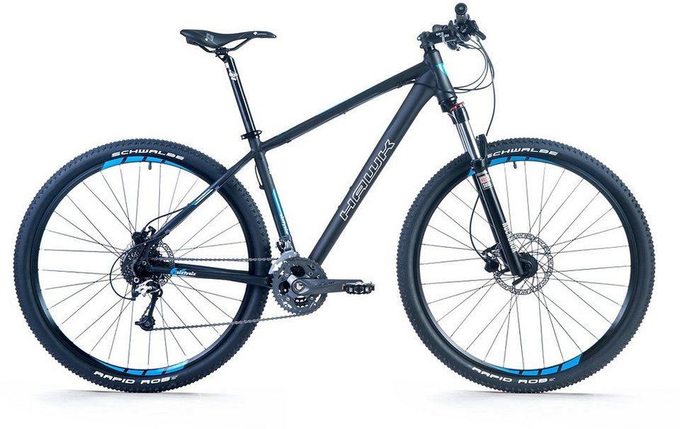 Hawk Mountainbike, 29 Zoll, 27 Gang Shimano XT-Schaltung, »Sixtysix 29« in schwarz-blau