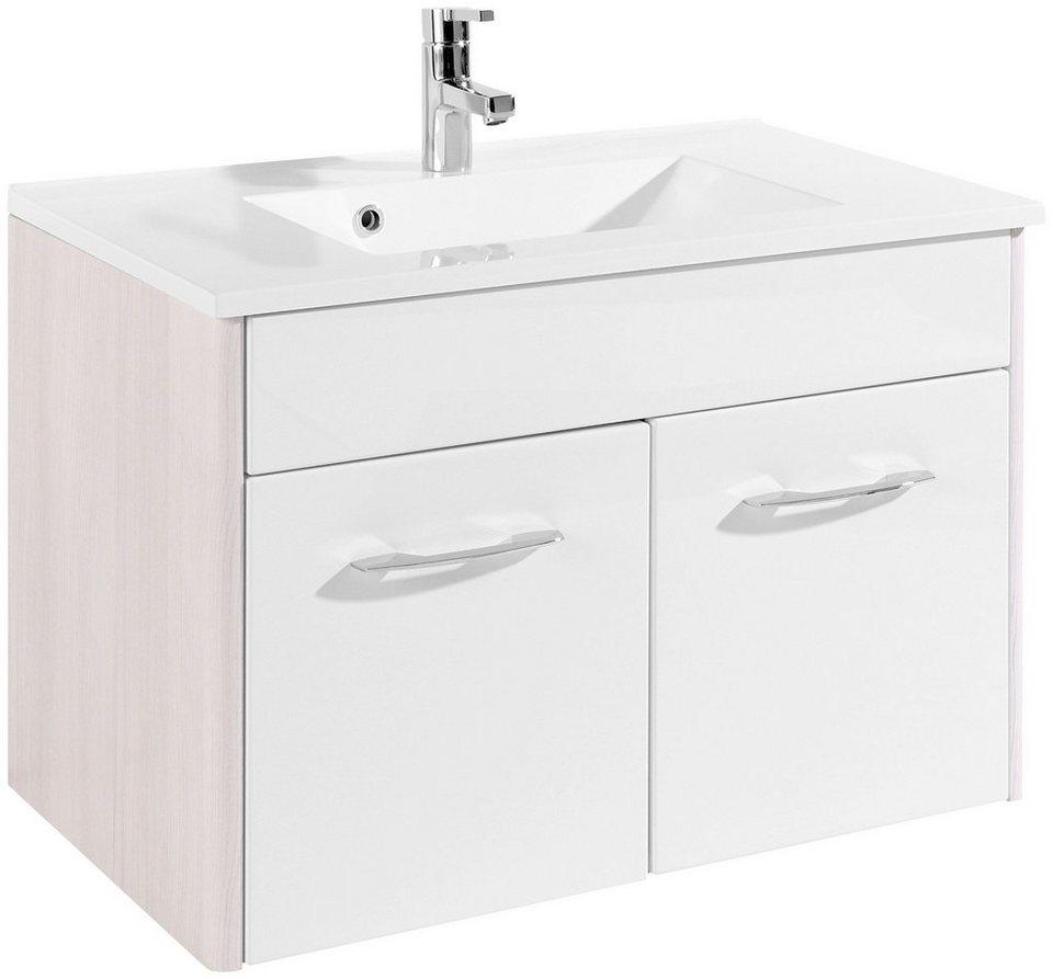 Held Möbel Waschtisch »Orlando«, Breite 80 cm, (2-tlg.) in weiß/silberfarben