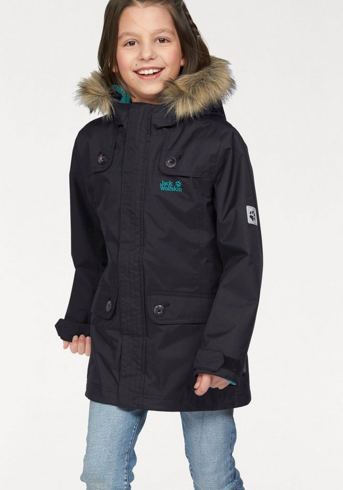 jack wolfskin 3 in 1 funktionsjacke rhode island parka girls inkl fleecestrickjacke online. Black Bedroom Furniture Sets. Home Design Ideas