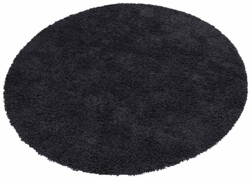 Hochflor-Teppich, rund, Home Affaire Collection, »Viva«, Höhe 45 mm, gewebt in schwarz