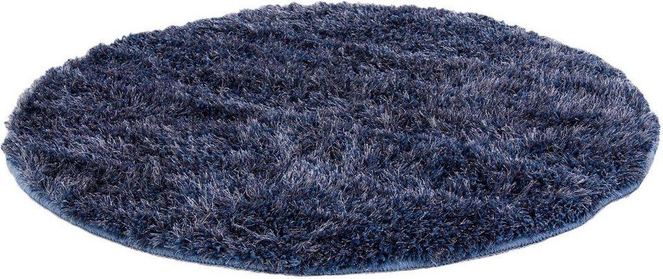 Hochflor-Teppich, rund, b.b home passion, »EMOTION«, Höhe ca. 40 mm, handgetuftet in blau