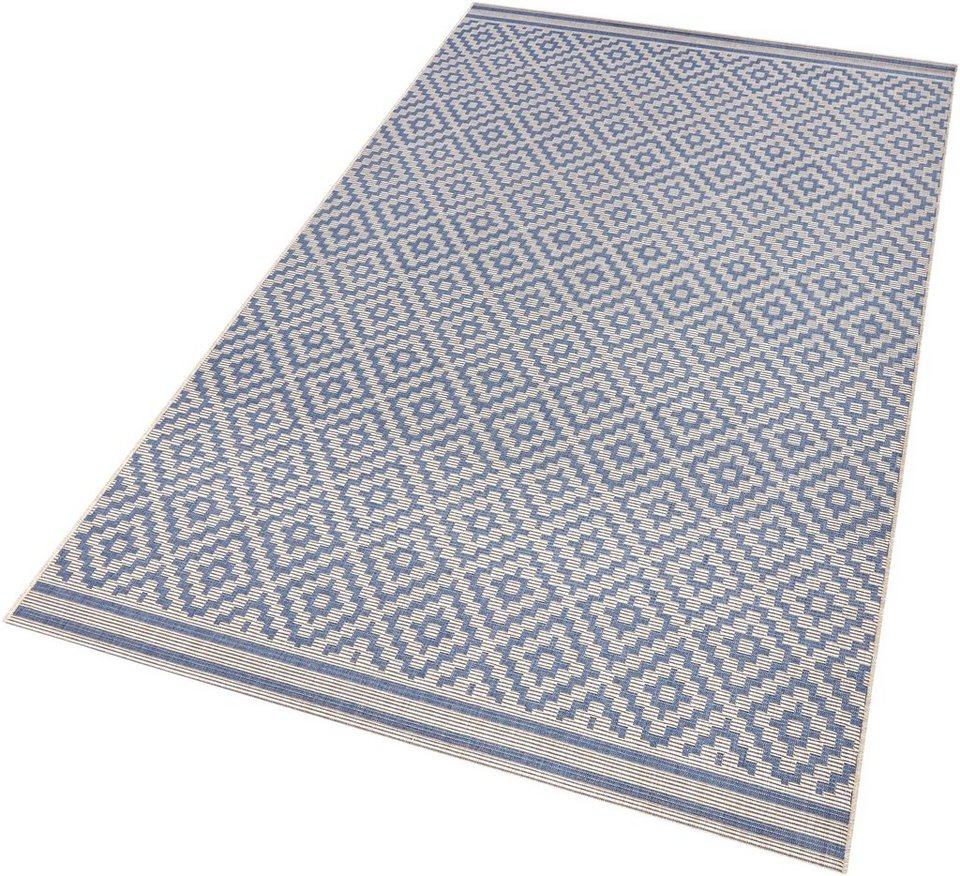 Teppich, bougari, »Raute«, In- und Outdoorgeeignet, Sisaloptik in blau