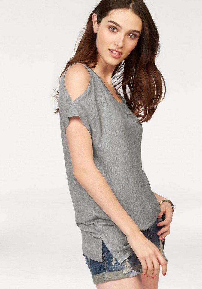 Laura Scott T-Shirt mit Schulter Cut-Out's in grau-meliert