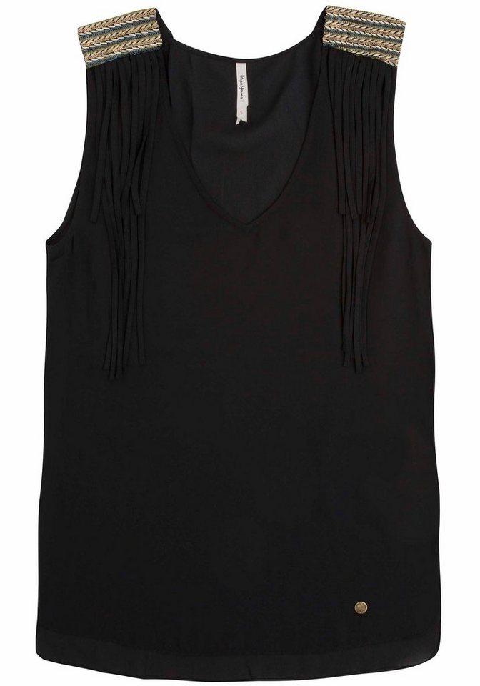 Pepe Jeans Blusentop »Elisse« mit Pailletten und Fransen Dekor in schwarz