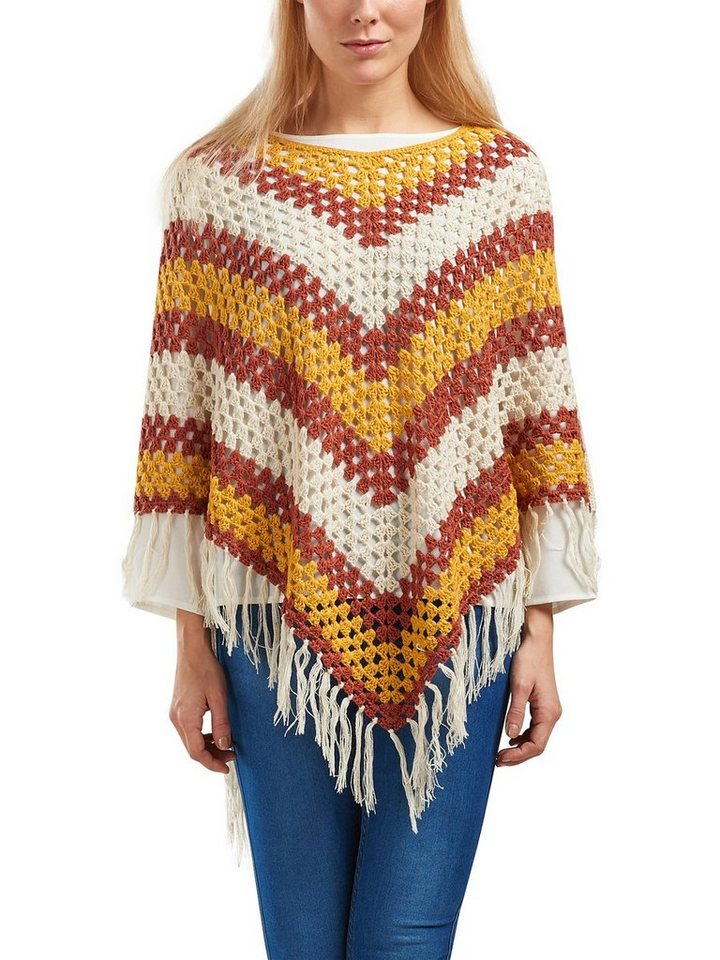 Only Gestrickter Poncho in Pumice Stone