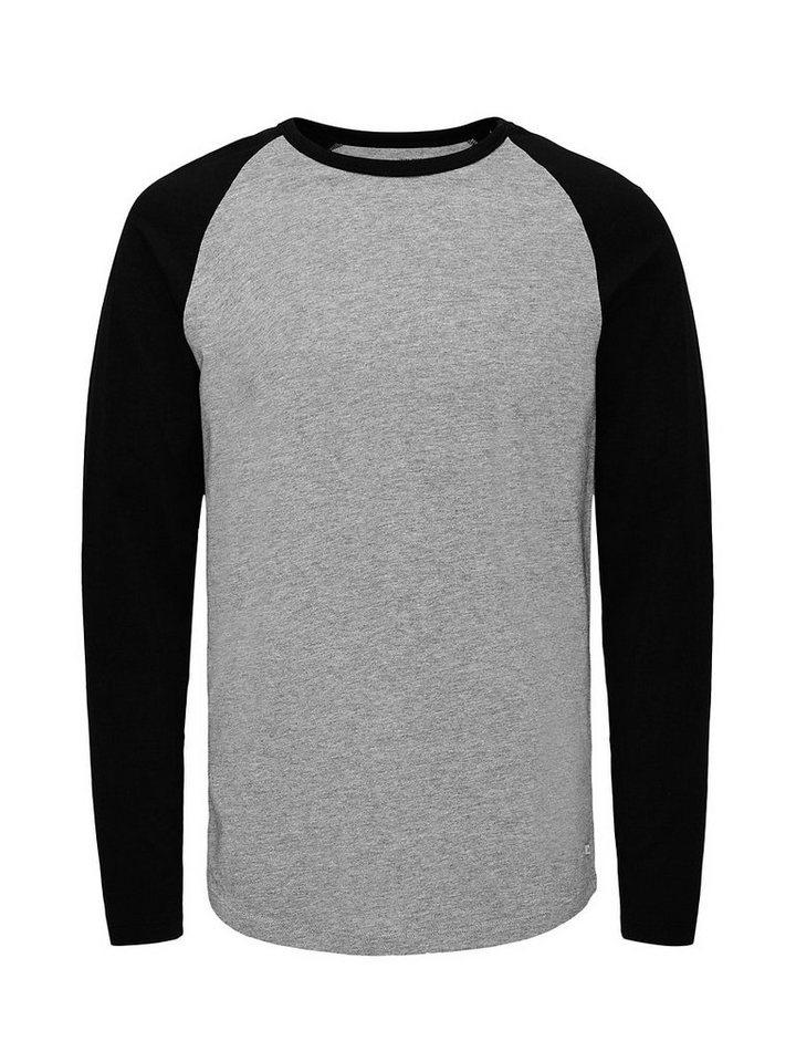 Jack & Jones Langärmeliges T-Shirt in Light Grey Melange