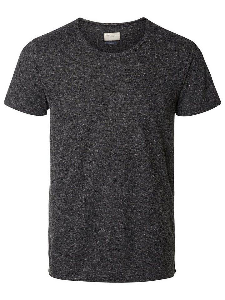 Selected Rundausschnitt T-Shirt in Caviar