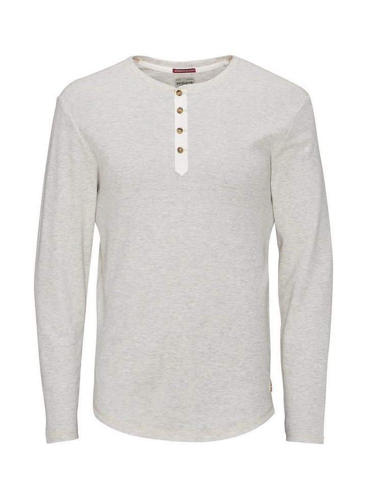 Jack & Jones Langärmeliges Grandad T-Shirt in Whisper White