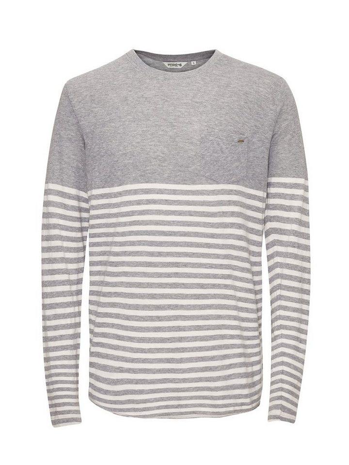 Jack & Jones Gestreiftes langärmeliges T-Shirt in Light Grey Melange