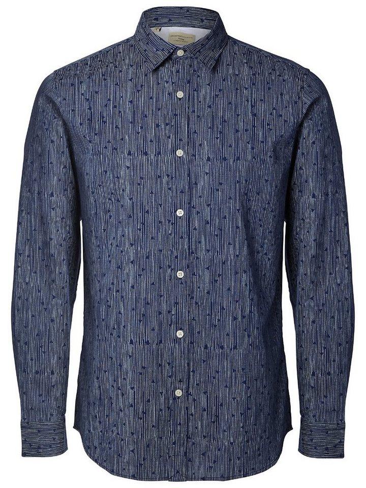 Selected Bedrucktes Slim Fit Hemd in Medieval Blue 2