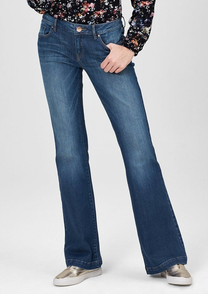 s.Oliver Denim Catie Bell Bottom: Used-Jeans in blue denim, heavy st