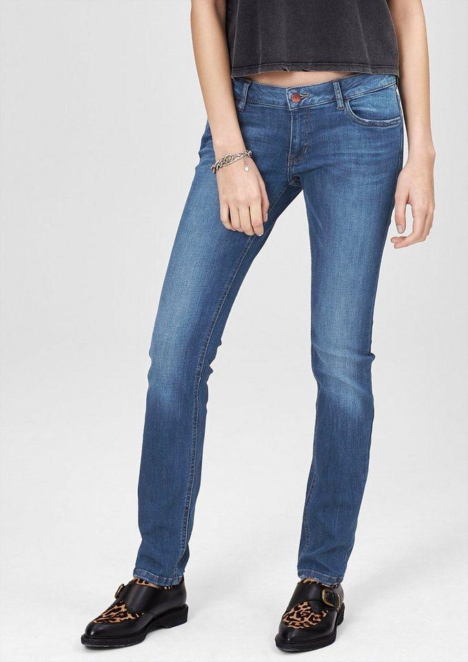 s.Oliver Denim Catie Slim: Schmale Used-Jeans in blue denim stretch