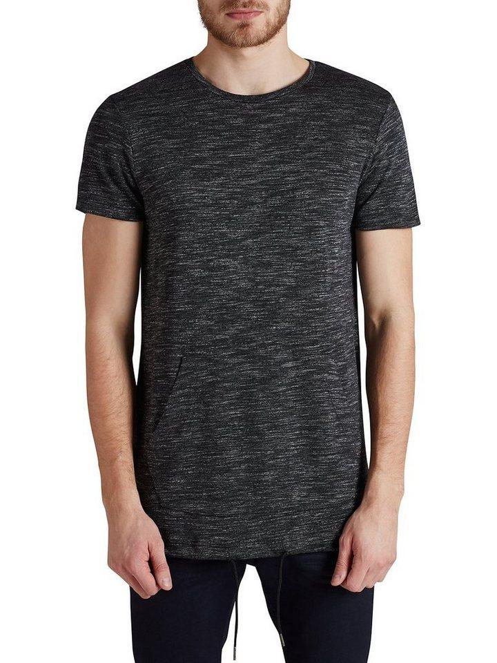 Jack & Jones Longline Strick T-Shirt in Dark Grey Melange