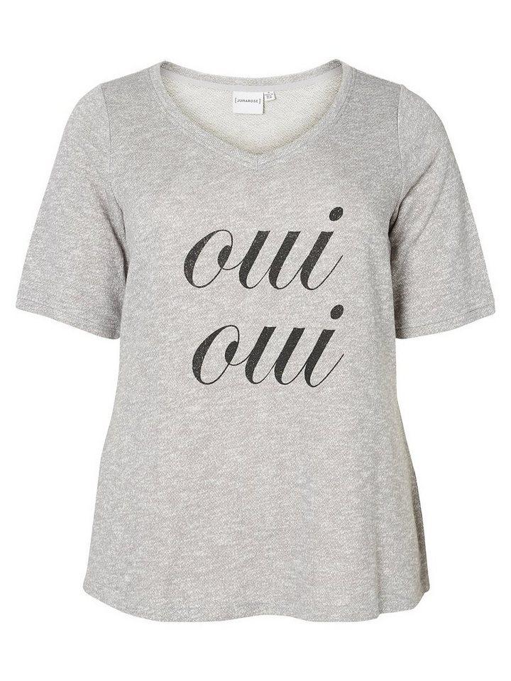 JUNAROSE Vorn bedrucktes T-Shirt in Medium Grey Melange