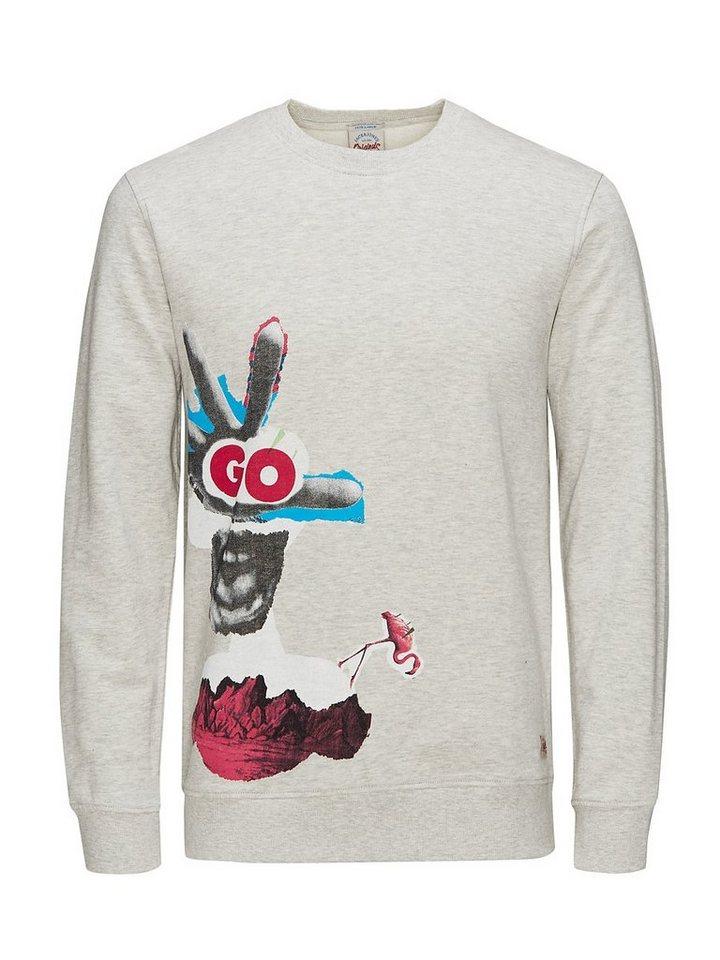 Jack & Jones Fresh-Print Sweatshirt in Treated White