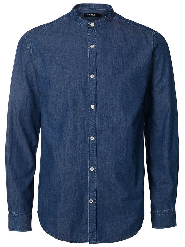 Selected China-Kragen- Jeanshemd in Medium Blue Denim