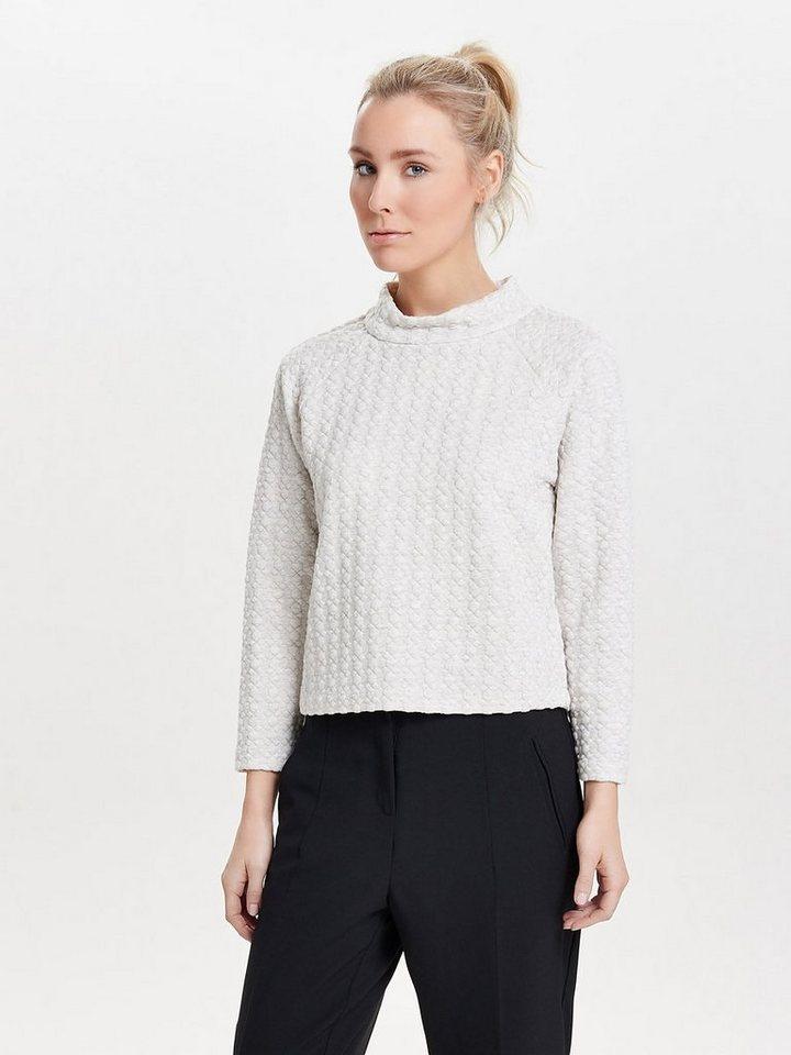 Only Gekürztes High-Neck- Sweatshirt in Oatmeal