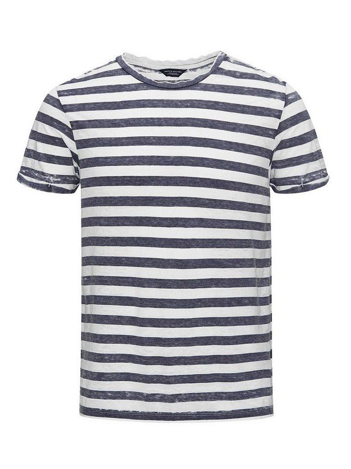 Jack & Jones Burnout-Streifen T-Shirt in Navy Blazer