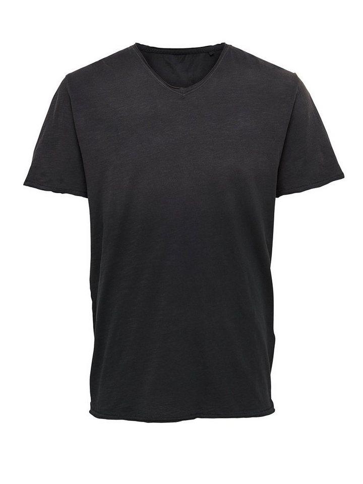 ONLY & SONS Dip-Dye- Oberteil mit kurzen Ärmeln in Black