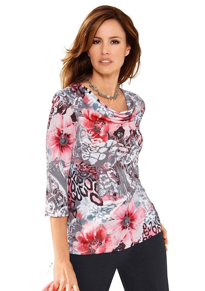 Lady Shirt mit femininem Wasserfall-Ausschnitt in koralle-schwarz-bedruckt