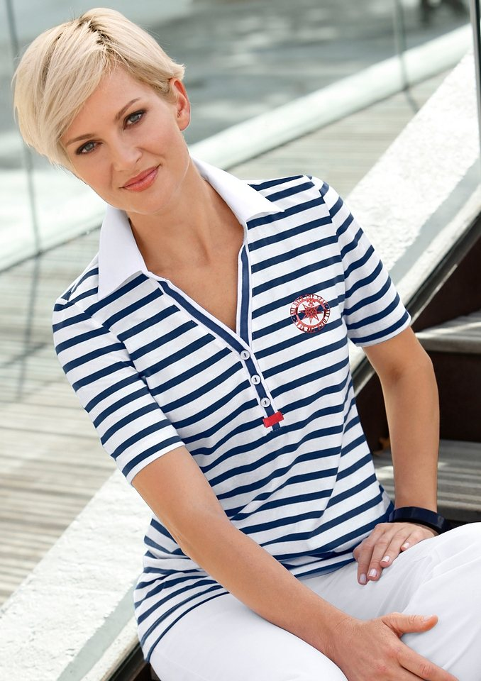 Collection L. Poloshirt in marine-geringelt