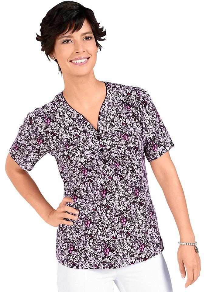 Classic Basics Shirt mit Raffungen an den Schultern in rosé-gemustert