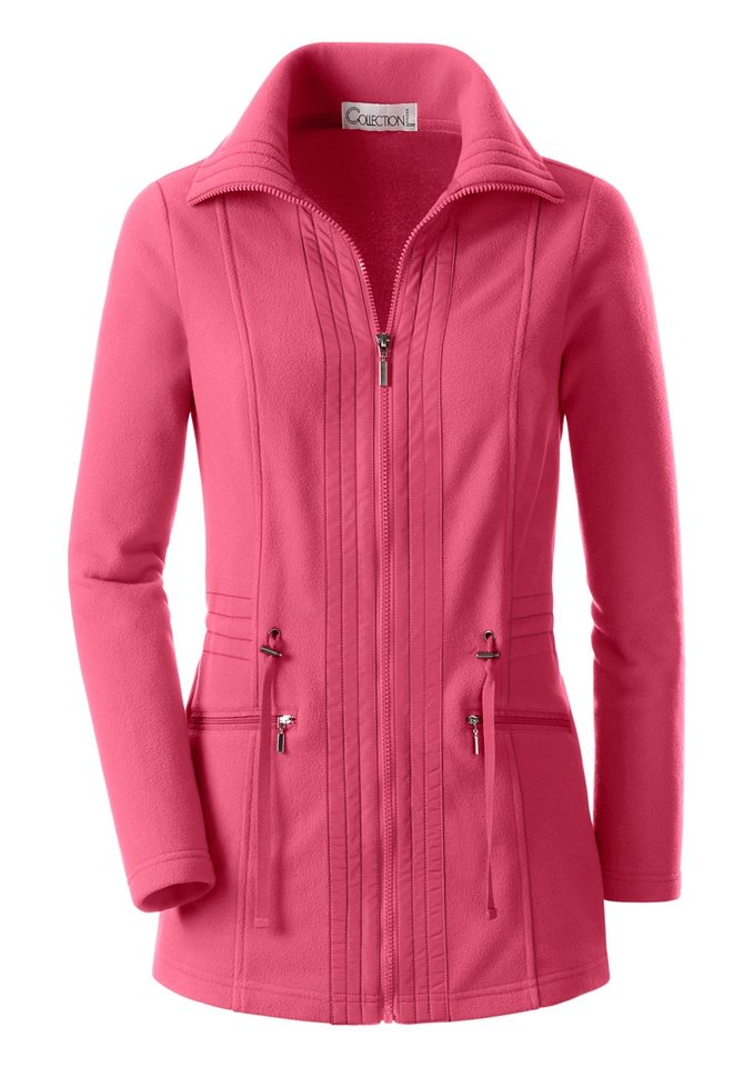 Collection L. Fleece-Jacke mit Umlegekragen in korallenrot