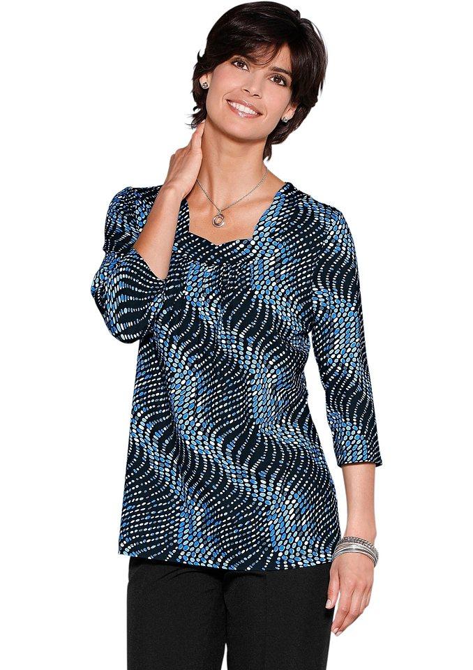 Classic Basics Tunikashirt mit modischer Raffung im Vorderteil in blau-gemustert