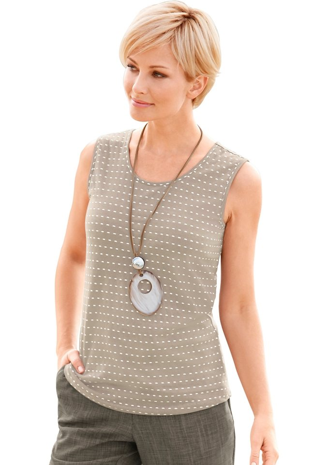 Collection L. Shirttop in PURE WEAR-Qualität in taupe-getupft