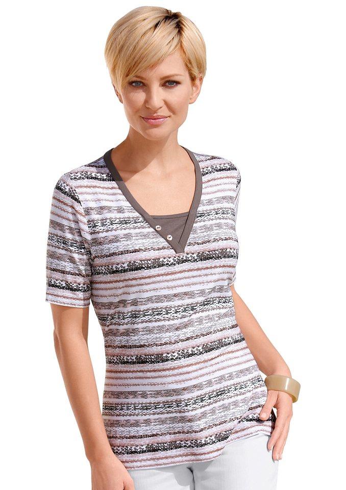 Collection L. Shirt in 2-in-1-Optik in braun-geringelt