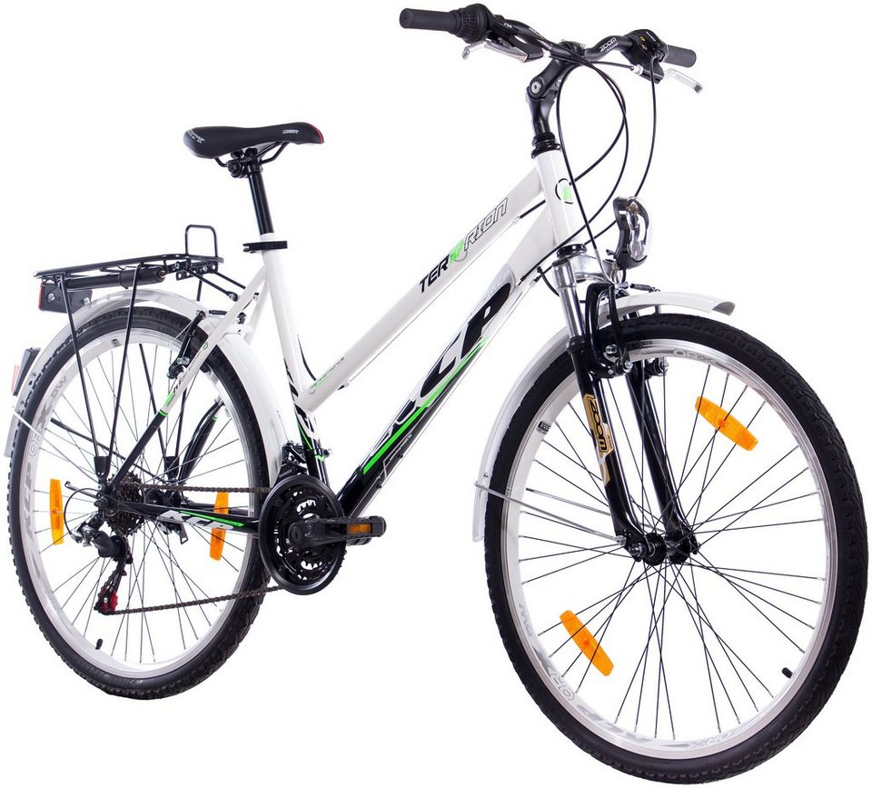 Trekkingrad Damen »TERRION Lady«, 24/26/28 Zoll, 18 Gang, V-Bremsen in weiß