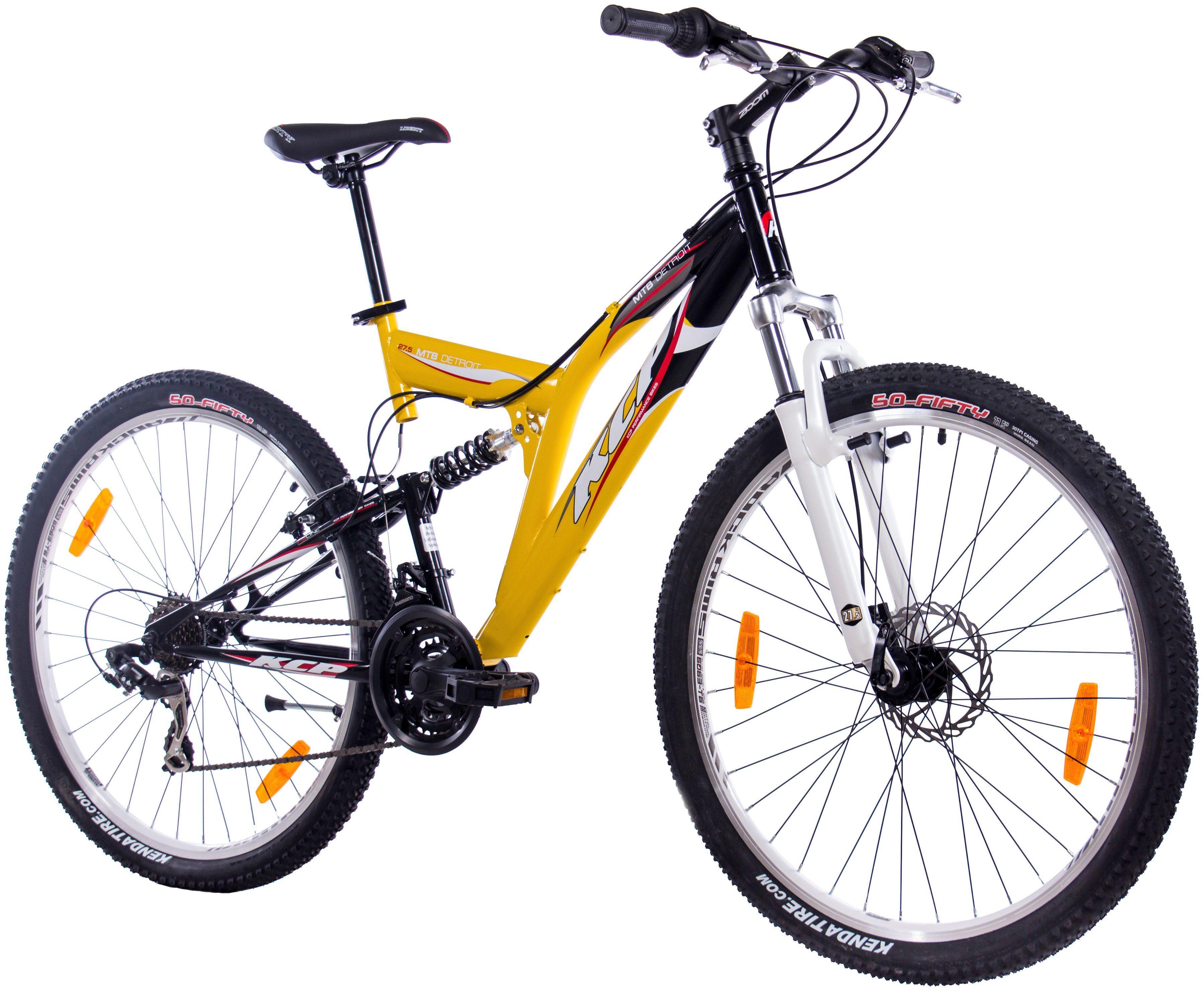 KCP Fully-Mountainbike »DETROIT gelb-schwarz, 70 cm (27,5 Zoll)«