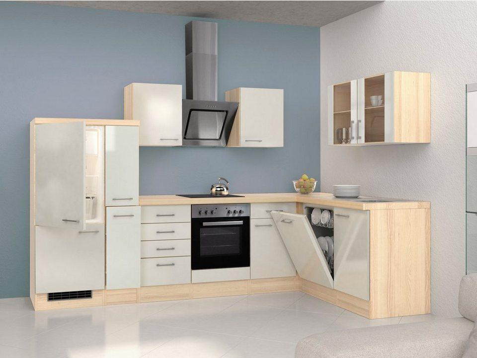 Winkel-Küchenzeile mit E-Geräten »Oregon«, Breite 310 x 170 cm in natur