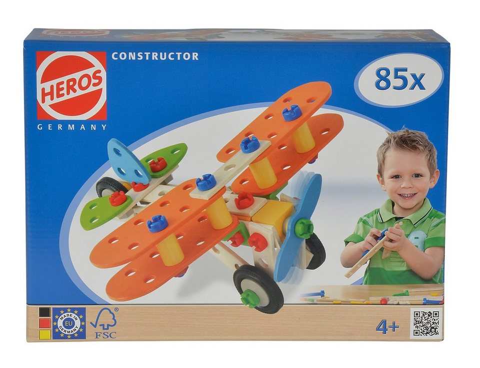 Heros Bauset aus Holz, 85-tlg. »Constructor Flugzeug«