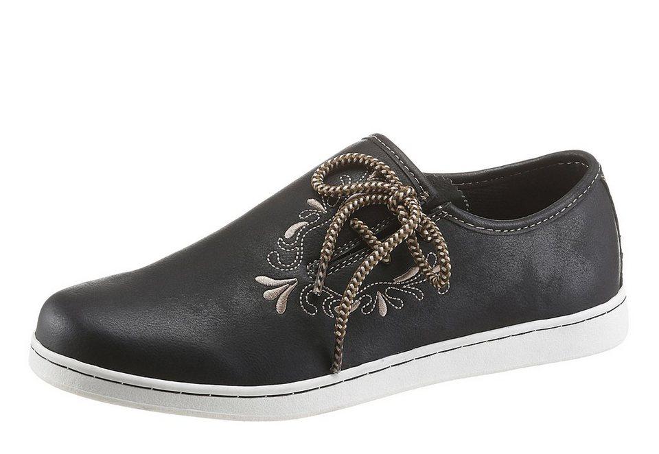 PETROLIO Sneaker im Trachtenlook in schwarz