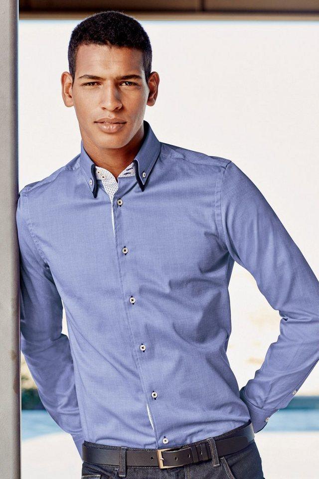 Next Hemd mit doppeltem Kragen in Blau