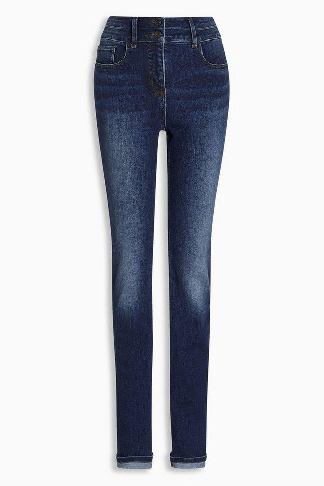 Next Hoch geschnittene Jeans mit Figurformung und schmalem Schnitt in Dunkelblau