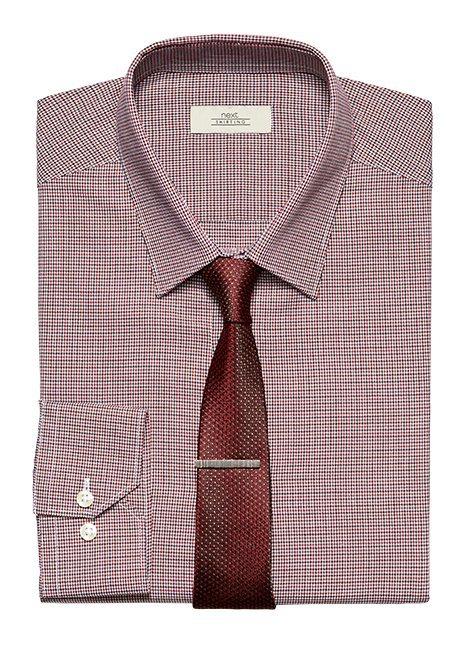 Next Karohemd, Krawatte und Krawattennadel im Set 3 teilig in Rot