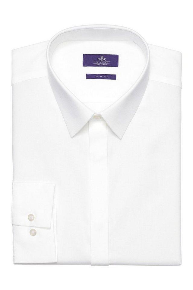 Next Hemd mit verdeckter Knopfleiste in Weiß