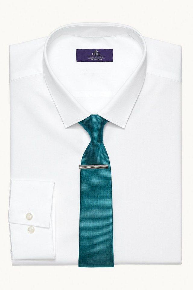 Next Hemd mit Minikragen in Weiß Slim-Fit