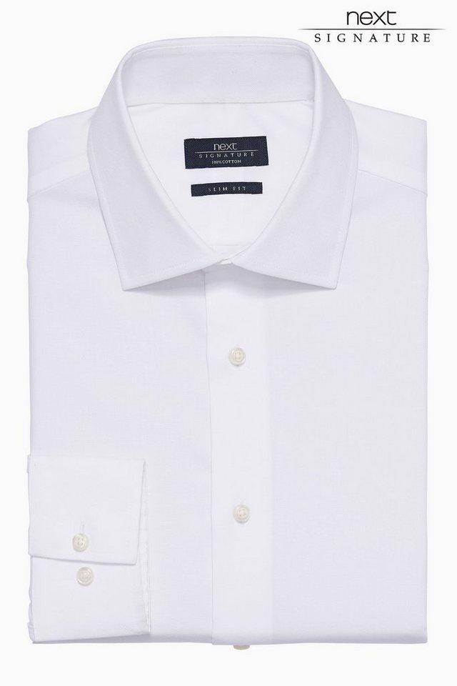 Next Oxford-Hemd in Weiß/royalblau Slim-Fit