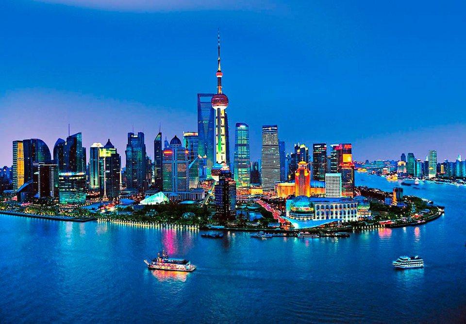 Home affaire Fototapete »Shanghai Horizont«, 366/254 cm in blau