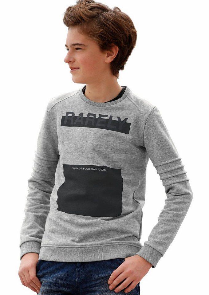 s.Oliver RED LABEL Junior Sweatshirt in schmaler Form in grau-meliert