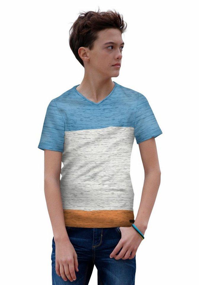 s.Oliver RED LABEL Junior T-Shirt mit V-Ausschnitt in mehrfarbig