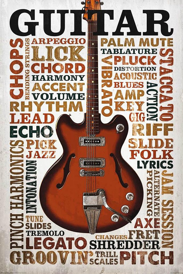Home affaire Deco Panel »Guitar Lingo«, 60/90 cm in creme/braun